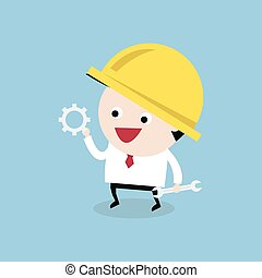 Worker with gear and wrench. engineer concept, vector