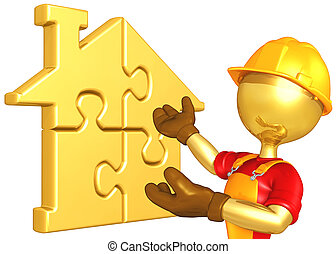 Worker With Gold Home Puzzle - A Concept And Presentation...