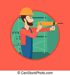Worker with hammer drill.