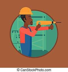 Worker with hammer drill vector illustration.