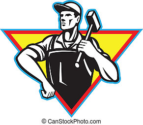 Worker With Hammer Retro - Illustration of a factory worker...