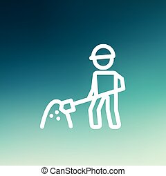 Worker with hard hat and shovel in building site thin line icon