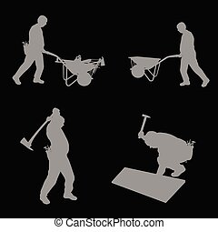 worker with her tools art vector illustration