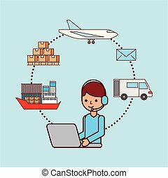 worker with laptop logistic delivery shipping boat plane truck box email