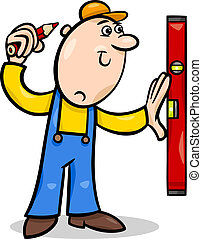 worker with level cartoon illustration