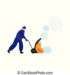 Worker with modern machine throwing snow