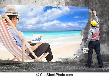 worker with paint brushes drawing business travel concept ad on