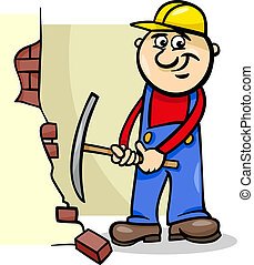 worker with pick cartoon illustration - Cartoon Illustration...