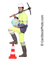 Worker with pickaxe and globe
