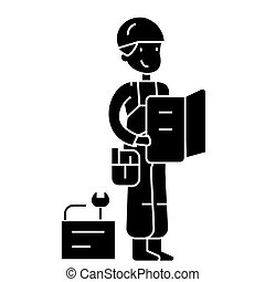 worker with plan and tools icon, vector illustration, sign on isolated background
