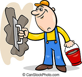 Cartoon Illustration of Worker or Mason with Trowel and Plaster or Cement doing Renovation