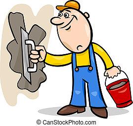 worker with plaster cartoon illustration - Cartoon...