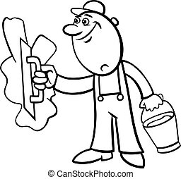 worker with plaster coloring page - Black and White Cartoon...