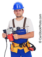 Worker with power tool - Confident worker portrait with...