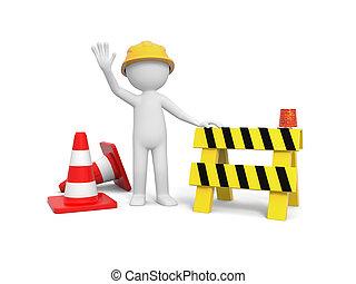 Worker with roadblock - 3d worker with hand on roadblock,...