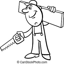 worker with saw coloring page - Black and White Cartoon...