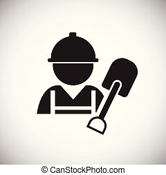 Worker with shovel on white background