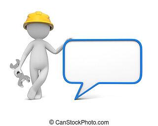 Worker with speech bubble - 3d worker, technician with blank...