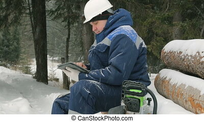 Worker with tablet computer on big pile of logs in winter...