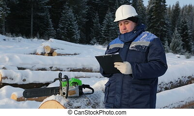 Worker with tablet near pile of logs in the forest