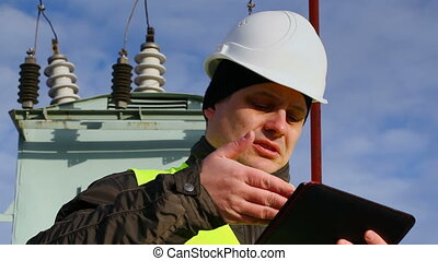 Worker with tablet PC