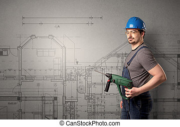 Worker with technical drawing.