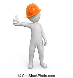 worker with thumb up. 3d image with a work path