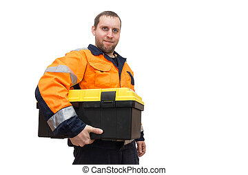 worker with tool box