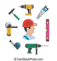 Worker with tools