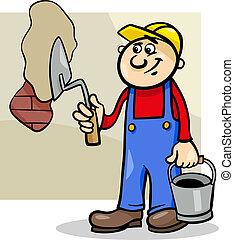 Cartoon Illustration of Man Worker or Workman with Trowel Plaster Brick Wall