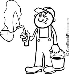 worker with trowel coloring page - Black and White Cartoon...