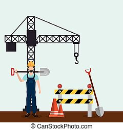 worker with under construction icons