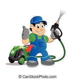 Worker with water blaster pressure