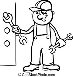 worker with wrench coloring page