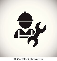 Worker with wrench on white background