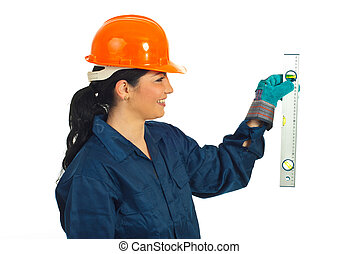 Worker woman holding bubble line