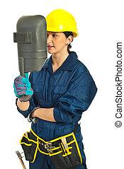 Worker woman holding welding mask