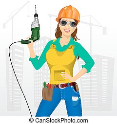 worker woman with drill