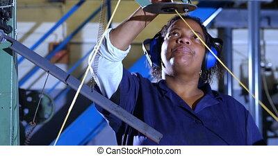 Worker working in rope making industry 4k - Female worker ...
