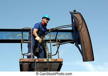 worker working in the oil field