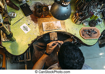 Worker working with his tools