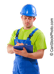 worker writing in clipboard isolated