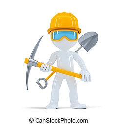 worker/builder, gai, poser, construction, outils