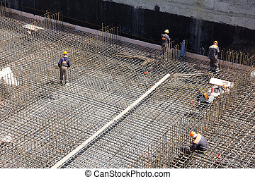 workers, делать, армирование, для, бетон, фонд