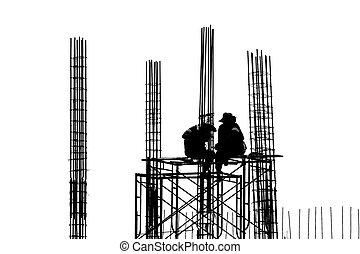 workers, строительство, силуэт