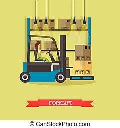 workers., スタイル, 概念, サービス, banner., イラスト, 出産, ベクトル, 平ら, ロジスティックである, 倉庫, design.