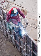 Workers are welding steel