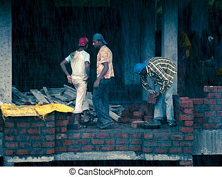 Workers are working on building under construction