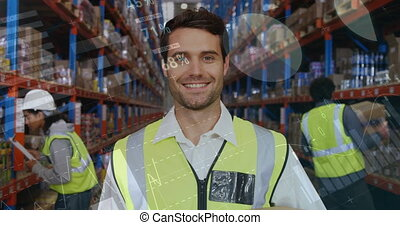 Workers at a distribution warehouse 4k - Close up of a ...
