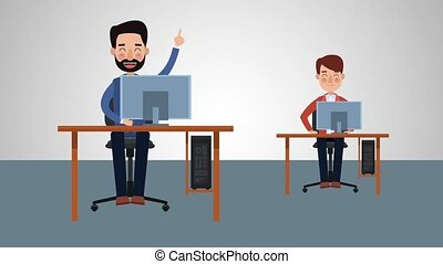 Workers at office HD animation